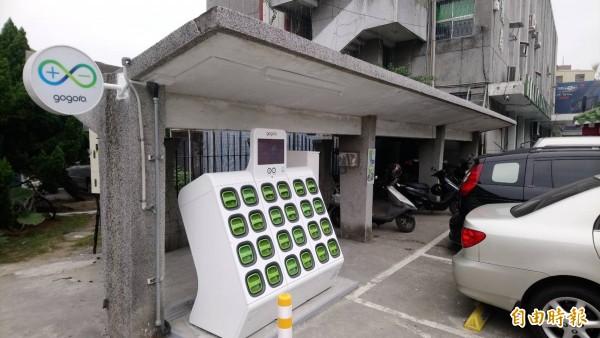 雲林縣環保局設置首座公務機關電池交換站。(記者林國賢攝)