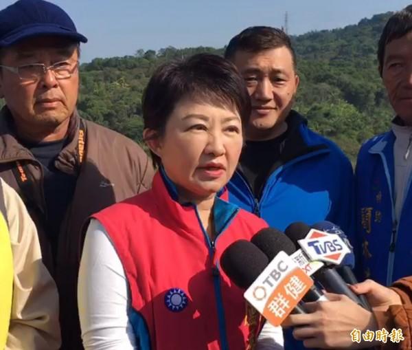 國民黨台中市長擬參選人盧秀燕指最近2份民調顯示,她已與市長林佳龍打成平手。(記者蘇金鳳攝)
