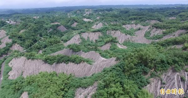政府要在200萬年才形成的泥岩惡形世界級自然地景興建掩埋場,引起環團及地方強烈反對。(記者蔡文居攝)
