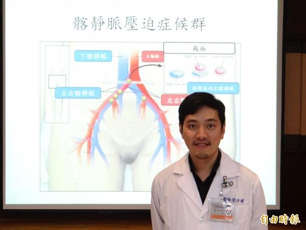 台南市立醫院醫師劉力瑋提醒下肢深層靜脈血栓塞,有致命危機。(記者王俊忠攝)