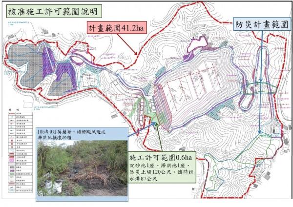 南市水利局說明水土保持核發施工許可示意圖。(水利局提供)