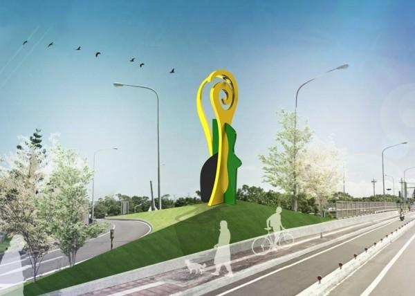 新竹市政府要在高速公路交流道口打造新的公共藝術裝置,以「如風的行板」為概念,在光復路及公道五路口設置新的入口意象,展現城市新風貌。(示意圖,由市府提供)