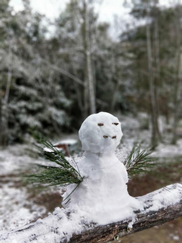新竹縣尖石鄉司馬庫斯部落昨晚飄雪到今天凌晨,有遊客起床後收集房間門口的積雪堆出小雪人。(圖由拉互依提供)