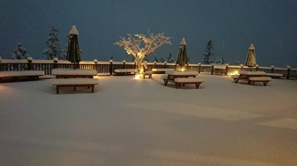 宜蘭太平山3日清晨開始連續降雪,翠峰山屋被冰封,宛如童話世界。(記者張議晨翻攝)