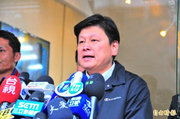 花蓮縣長傅崐萁談重建要多少錢?他今天給出數字「大概台南捐款的一半,20億元」。(記者花孟璟攝)