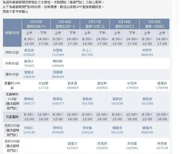 彰化基督教醫院、兒童醫院的春節門診表。(取自彰基官網)