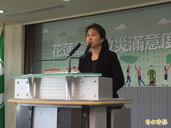 民進黨發言人谷辣斯.尤達卡(Kolas Yotaka)說明「花蓮地震救災滿意度民調」調查結果。(記者楊淳卉攝)