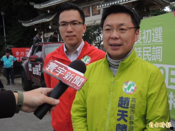 趙天麟認為基進黨對他的兩岸經濟論述有誤解,願意委請天團成員登門溝通說明(記者王榮祥攝)