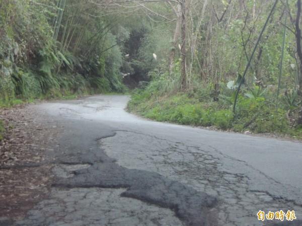 新竹縣尖石鄉後山最偏遠的司馬庫斯部落,聯外道路16公里千瘡百孔,族人憂心威脅用路人的行車安全。(記者廖雪茹攝)