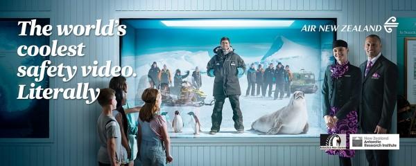紐西蘭航空全新世界上最「Cool」的飛行安全宣導短片正式亮相。(紐航提供)