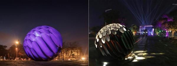 台灣燈會作品「嘉藝之光」(左)與Hugo Reis作品「Eclipse(日蝕)」。(取自Hugo Reis臉書)