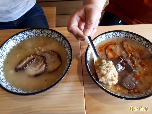 正味海鮮粥,有豐富的配料和新鮮海鮮,不吃粥也有麻辣海鮮雞絲麵,都可滿足饕客味蕾。(記者洪美秀攝)