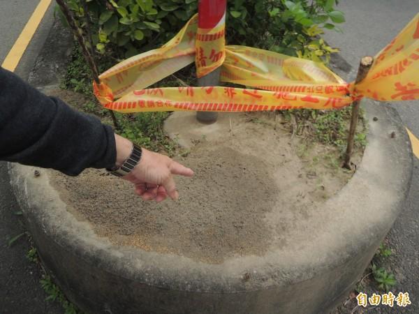 竹北市東平里里長林顥峰提醒民眾,如果發現凸起的土丘,應通報相關單位,由專業人員處理,不要自行持竹子等物翻動,以避免紅火蟻蔓延得更快。(記者廖雪茹攝)
