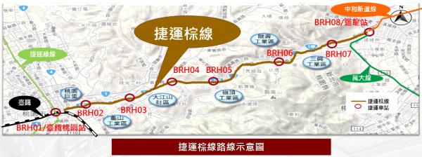 捷運棕線路線圖。(市府提供)