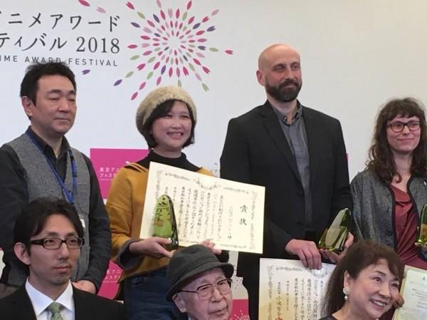 台灣動畫導演宋欣穎(左二)與各國得獎者合照。(宋欣穎提供)