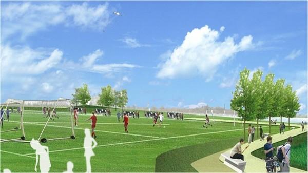 竹市左岸新闢滑板公園、足球場,打造首座滑板全國賽事場地,圖為示意圖。(記者蔡彰盛翻攝)
