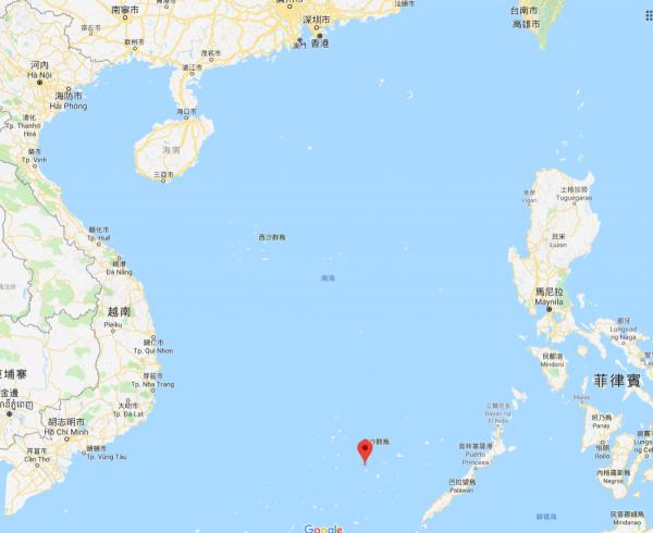 美濟礁是南沙群島中一處珊瑚環礁,中國在此填海造陸,是目前南海諸島中面積最大的島。然而台灣、菲律賓、越南皆宣稱擁有美濟礁主權。(圖片截取自Google Map)