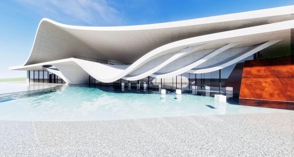 「永安漁港整體規劃暨海螺文化體驗園區工程」,將以「海螺」的曲線外殼為造型興建。(記者李容萍翻攝)