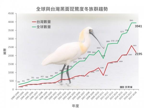 「2018年黑面琵鷺全球普查」結果今天出爐,台灣普查共紀錄到2195隻,比去年少了406隻。(圖為中華民國野鳥學會提供)