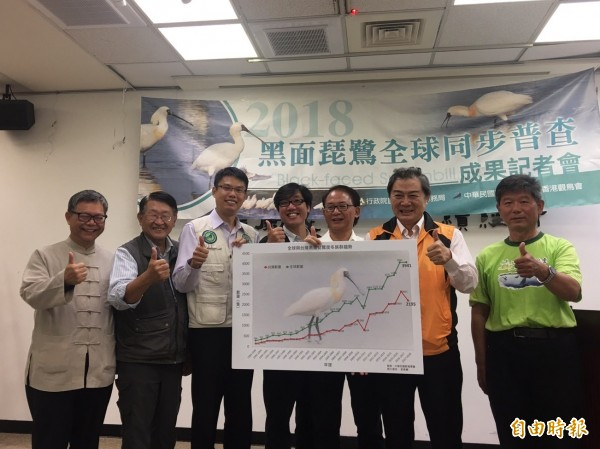 「2018年黑面琵鷺全球普查」結果今天出爐,台灣普查共紀錄到2195隻,比去年少了406隻。(記者吳欣恬攝)