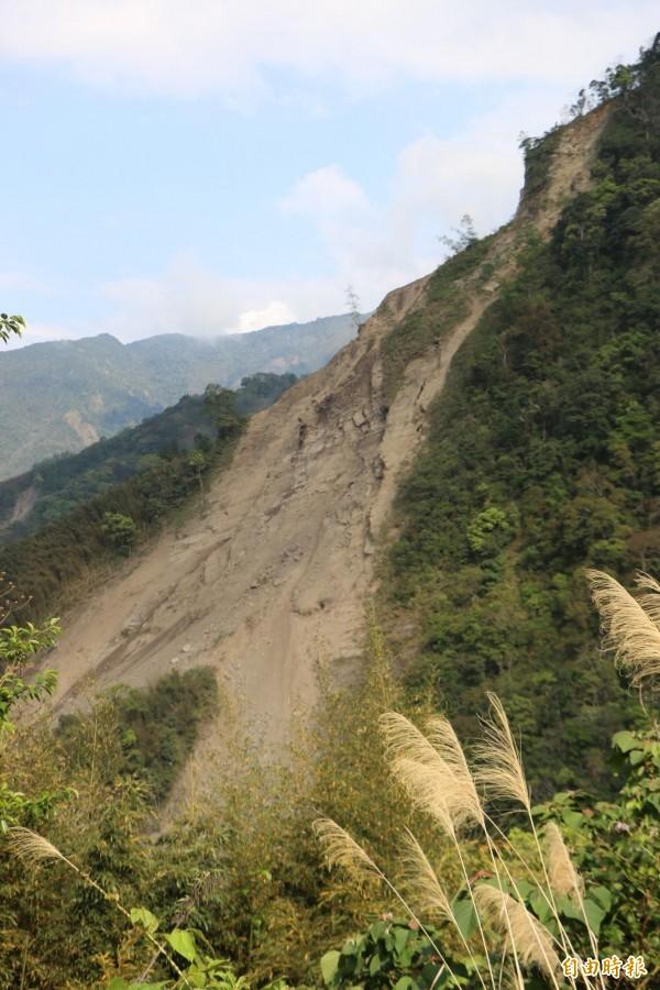 鹿湖山區持續走山,每隔幾分鐘就有大量落石泥沙崩落,伴隨轟隆巨響十分駭人。(記者鄭名翔攝)