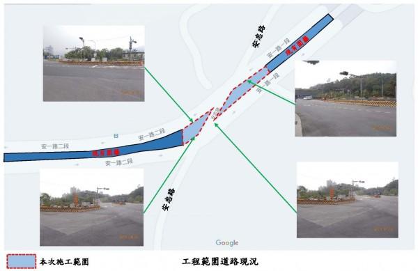 新店區安一路二段(安忠路口)將架設施工圍籬,原路口左轉專用車道將配合調整取消。(新北市捷運局提供)