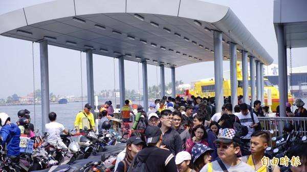 東琉碼頭新突堤啟用。(記者陳彥廷攝)
