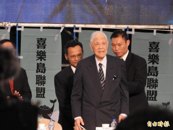 96歲李登輝現身《喜樂島聯盟》,支持「獨立公投,正名入聯」。(記者葛祐豪攝)