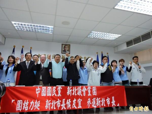 侯友宜4月6日通過國民黨市長提名黨內初選,市議會黨團表示團結力挺,市黨部也將於14日在三重小巨蛋舉行首場大型造勢活動。(記者賴筱桐攝)