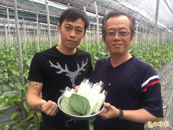 農友洪俊彬(右)、洪振偉父子研發荖葉冰棒。(記者張存薇攝)
