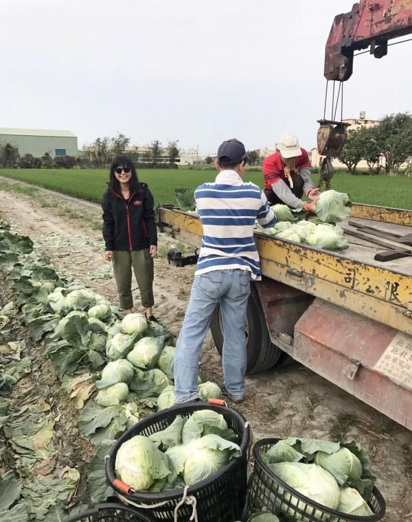 叫貨車竟來拖吊車,埔鹽鄉代會主席許文萍(左1)與農民看到全笑翻。(記者陳冠備翻攝)