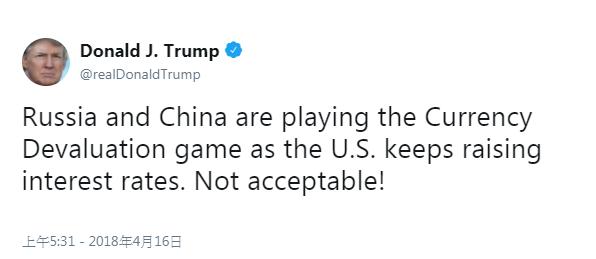 美國總統川普在推特上指責俄羅斯和中國,在美國升息時,貶值他們本國的貨幣,如同在玩貨幣貶值博弈。(圖片取自川普推特)