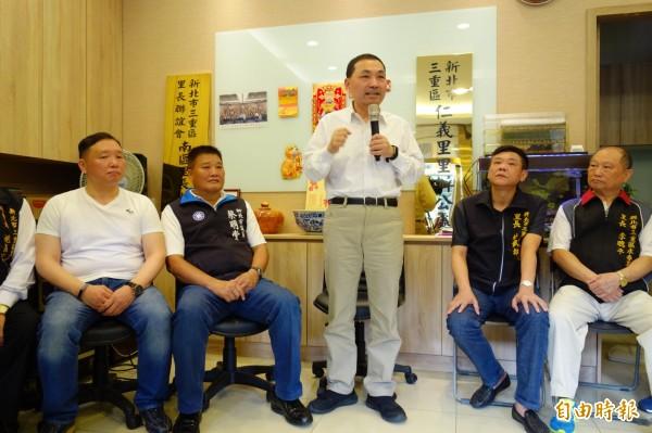 國民黨新北市長參選人侯友宜今早與三重里長座談。(記者葉冠妤攝)