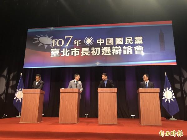 國民黨電視辯論會登場,圖左至右為鍾小平、孫大千、張顯耀、丁守中。(記者郭安家攝)