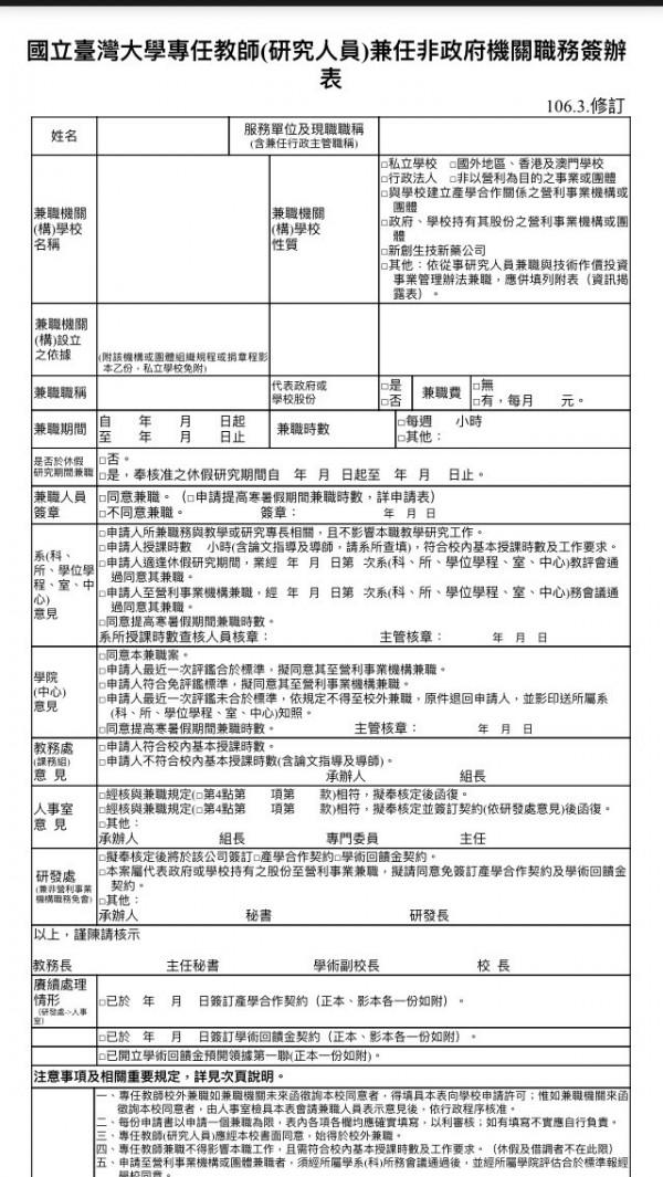 管中閔兼職偷跑涉違法,台大教授陳炳煇直言,不能打混戰推卸法律責任,「兼職簽辦表」可清楚看到必須先獲得學校同意。(記者林曉雲翻攝)