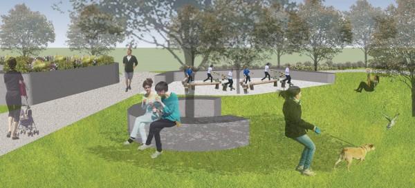 太平東和里將新闢兒童公園,完工示意圖顯示公園內將設置平衡木踏樁、友善沙坑等設施。(記者陳建志翻攝)