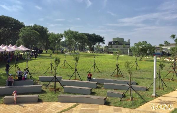 平鎮區雙連坡碉堡公園的大草坪。(記者李容萍攝)