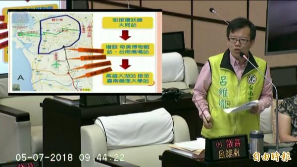 議員呂維胤針對台南及高雄雙城捷運提出質詢,爭取台南捷運與高捷連接。(記者蔡文居翻攝)