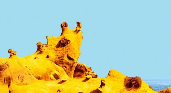 和平島公園今年七月將要對外開放,經營團隊即日起推出命名活動,過去被稱為犀牛岩,也有人稱為海兔岩;有興趣民眾可上網命名,有機會抽大獎。(圖為和平島公園提供)