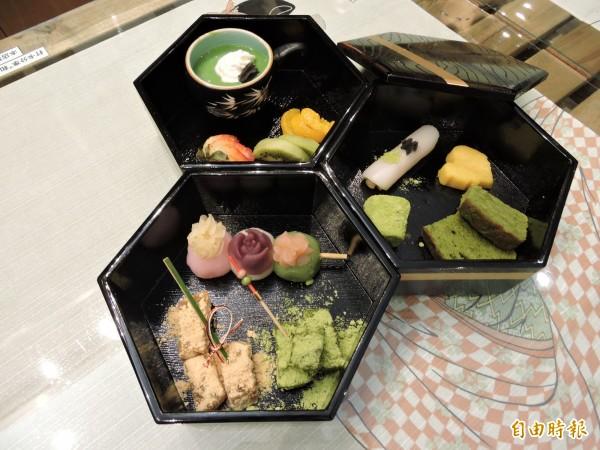 和心茶寮的「和果子珠寶盒」可吃到各式和果子。(記者張菁雅攝)