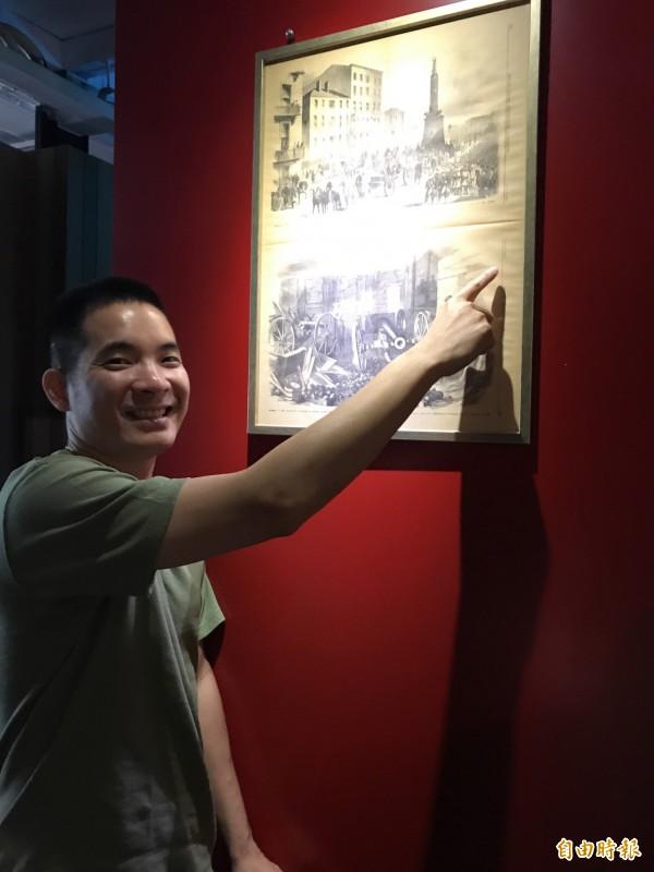 貨櫃餐廳牆上掛著泰晤士報的創刊號,相當珍貴。(記者黃良傑攝)