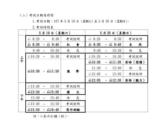 國中教育會考19日、20日登場。(翻攝自屏東考區簡章)