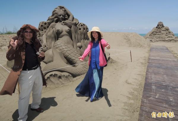 今年的「一箭雙雕」沙雕展,將從馬沙溝遊憩區移到馬沙溝北航道堤岸舉辦。(記者楊金城攝)