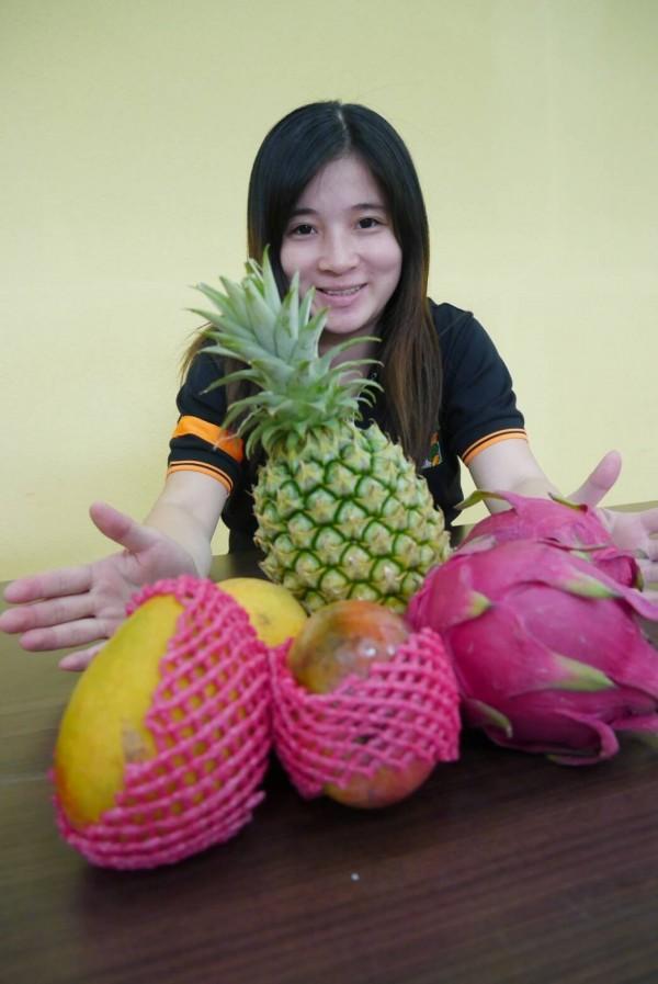 當季水果有國產鳳梨、木瓜、芒果、火龍果等,現在買價格便宜。(新北果菜公司提供)
