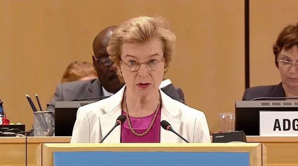 馬爾他騎士團駐聯合國大使Marie-Therese Pictet-Althann發言提及台灣與馬爾他騎士團的人道合作關係。(翻攝自WHA大會轉播畫面)