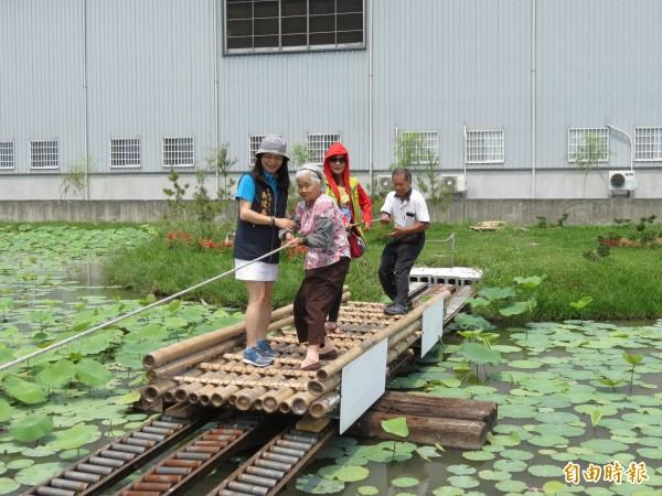 光明社區發展協會志工合力打造蓮花池,還設計竹筏往來日島、月島。(記者蘇金鳳攝)