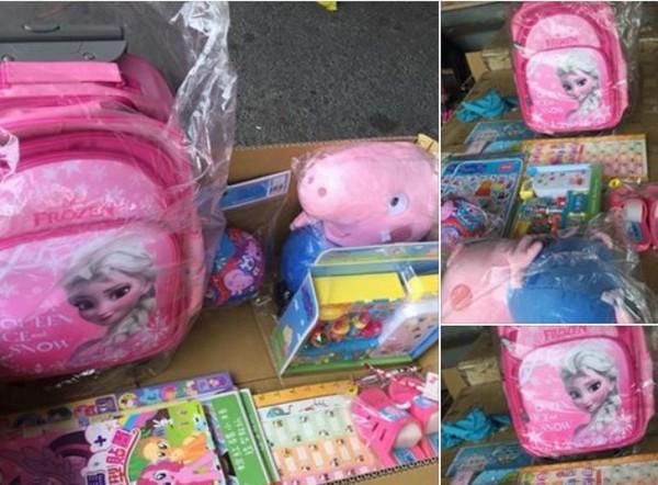 彰化殯儀館女童的靈堂前,湧入大批民眾送來的書包、玩偶與玩具,希望女童在天國當幸福的小天使。(記者湯世名翻攝)