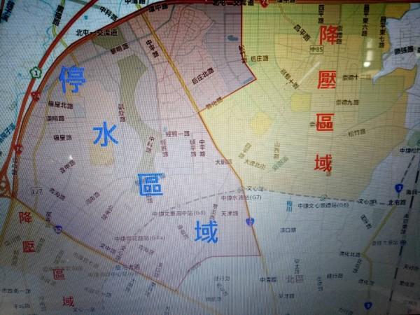 台中市明天停水與降壓區域圖。(記者張軒哲翻攝)