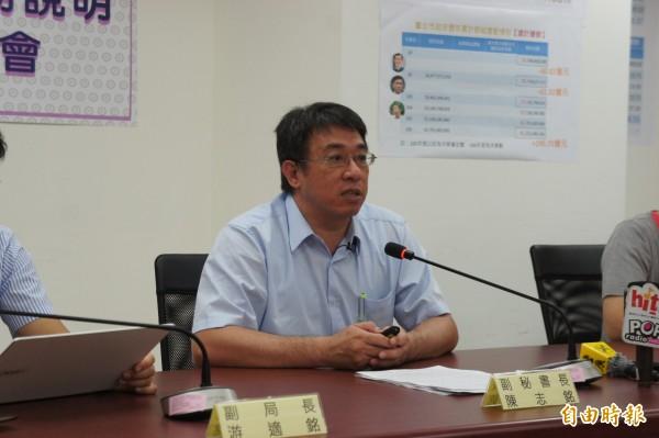 台北市政府副秘書長兼財政局長陳志銘,上午召開記者會說明柯文哲債務還本狀況。(記者黃建豪攝)