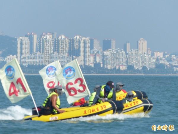 金門、廈門海域平時以中線相隔,互有節制,遇有海泳等體育盛事,只要事先講好,雙方可以自在的來去。(資料照 記者吳正庭攝)